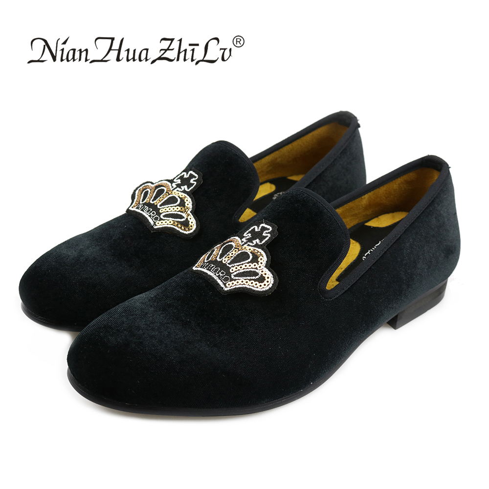 2d09b78dcd1f2 New Western Style handmade luxurious embroidery men velvet shoes Banquet  and Prom men dress shoes and male size loafers-in Men's Casual Shoes from  Shoes on ...