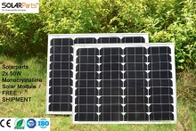 Solarparts 2x 50W Monocrystalline Solar Module by Mono solar cell factory cheap selling 12V solar panel for RV/Marine/Boat use .
