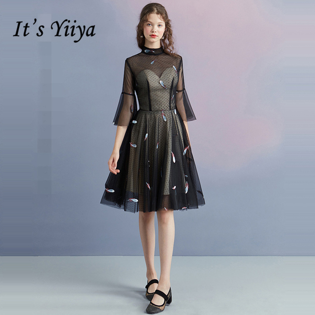 Its Yiiya Little Black Dress Three Quarter Sleeve Sexy Backless