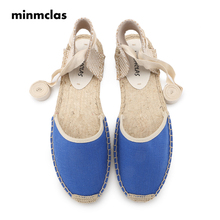 MINMCLAS INS Hot Women Cotton Sandals Summer Shoes New Summer Flat Sandals Women Lace Up Espadrilles Sandals for Girls Shoes