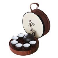 9pcs Mini Outdoor Travel Tea Set China Ceramics & ABS Tray Teapot Drinking Cup Kung Fu Tea Accessories Car Travel Carrying Ca