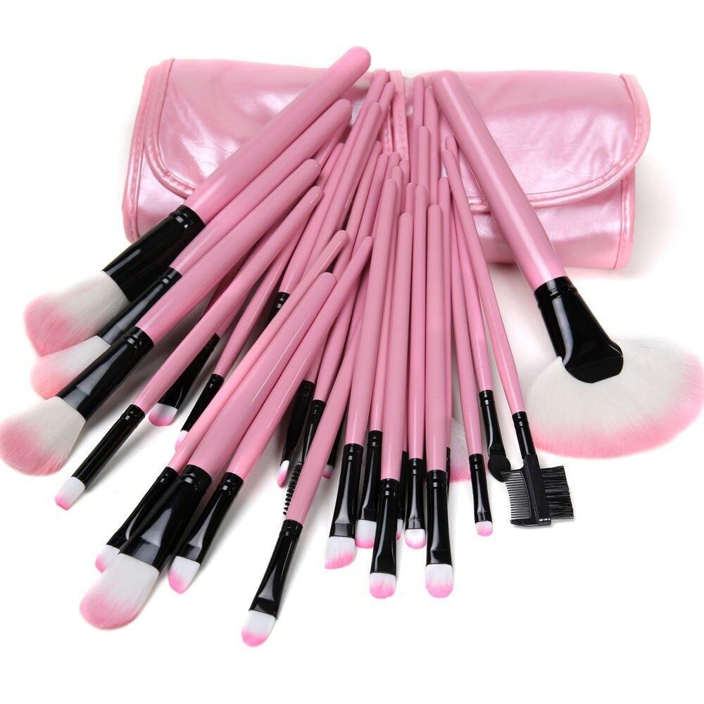 32pcs/set Cosmetic Brushes Pink Professional Soft Makeup Brush Set Kit + Bag Tool 2017 cosmetic pink makeup brush professional makeup kit brush set foundation brush power puff sponge makeup brushes set tool