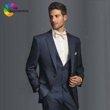 Custom Made Navy Blue Men Suits Slim Fit Tuxedos Groom Suit Mens Wedding Casual Business Trajes De Novio Hombre Blazers