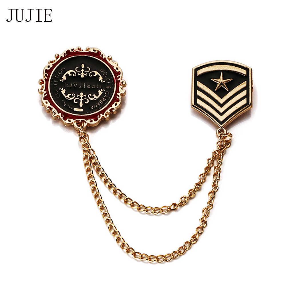 Jujie Vintage Enamel Jangkar Bros untuk Pria 2019 Logam Sederhana Bintang Perisai Kerah Militer Bab Bros Pin Perapi Rantai Perhiasan