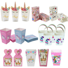 Boîtes à Popcorn en papier pour fête de licorne, boîte cadeau, biscuits à bonbons, décorations de fête danniversaire, sacs à cadeaux pour enfants, fourniture de réception pour bébé