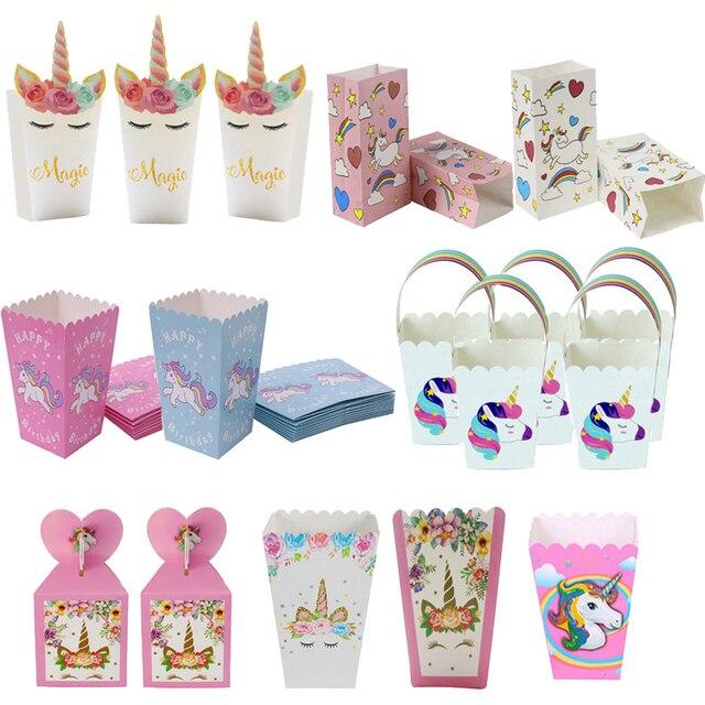 Unicorn המפלגה נייר פופקורן קופסות אריזת מתנה סוכריות עוגיות שקיות יום הולדת ילדי שקיות מתנה לטובת תינוק מקלחת אספקת