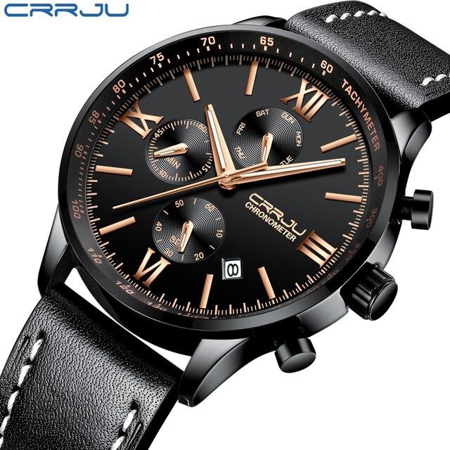 4991f746479 CRJU Cronógrafo dos homens relógios de Pulso de Couro Militar Esportes  Relógio Masculino de Negócios de