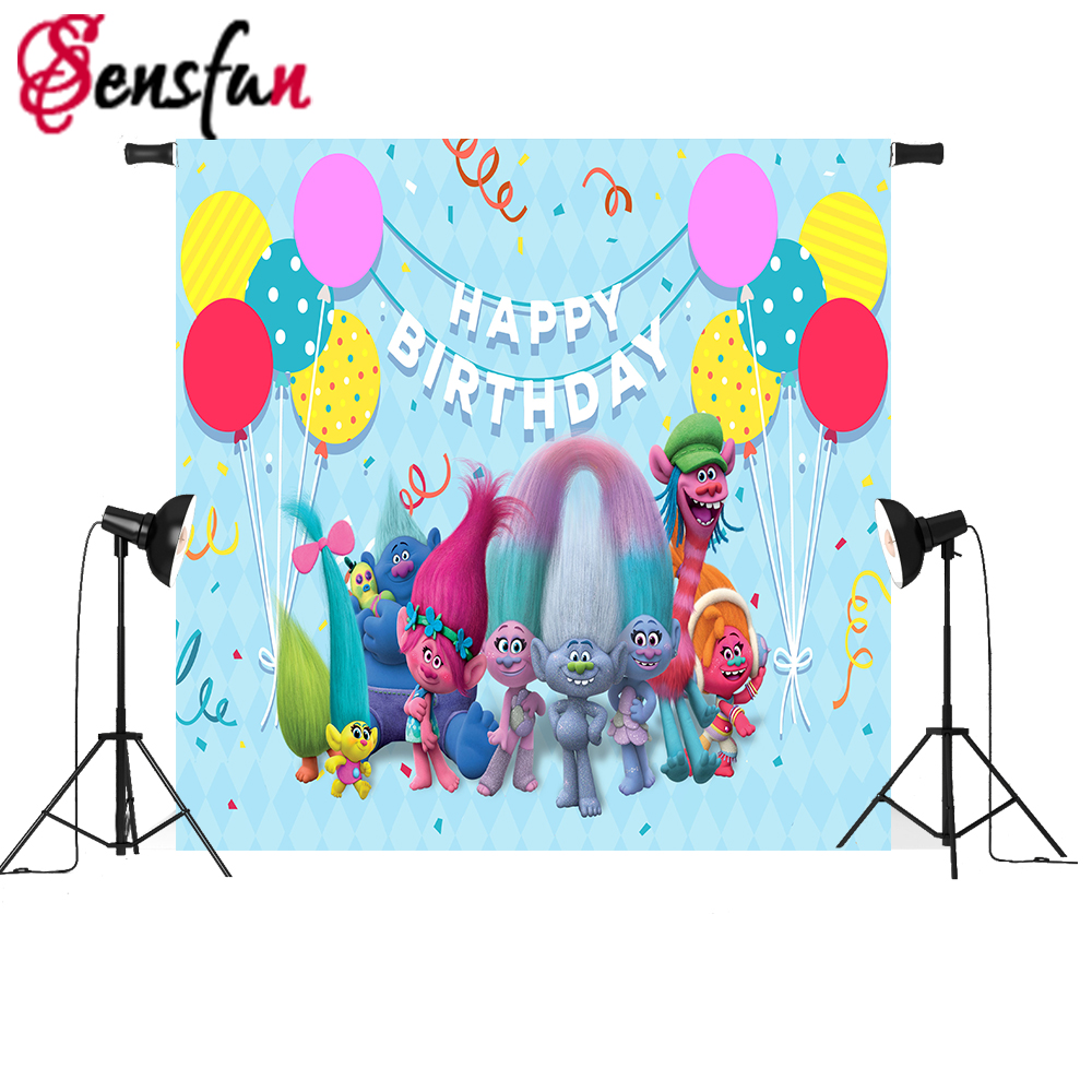 Sensfun Trolls Birthday Backdrop Event Photobooth Balloons Vinyl Photography Background For Photo studio Children Photocall allenjoy backdrop spring background green grass light bokeh dots photocall kids baby for photo studio