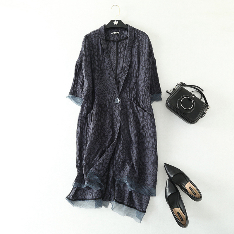 Longs Blazers femmes vêtements coupe large 100% lin Patch soie imprimé encoché poches simple bouton grande taille Design indépendant 2019