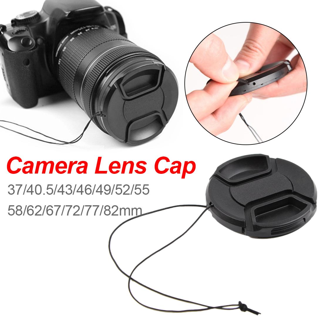 Universal Camera <font><b>Lens</b></font> <font><b>Cap</b></font> <font><b>67</b></font>/72/77/82mm Different Size <font><b>Lens</b></font> Protection Cover With Anti-lost Rope For Canon Sony Nikon DSLR SLR image