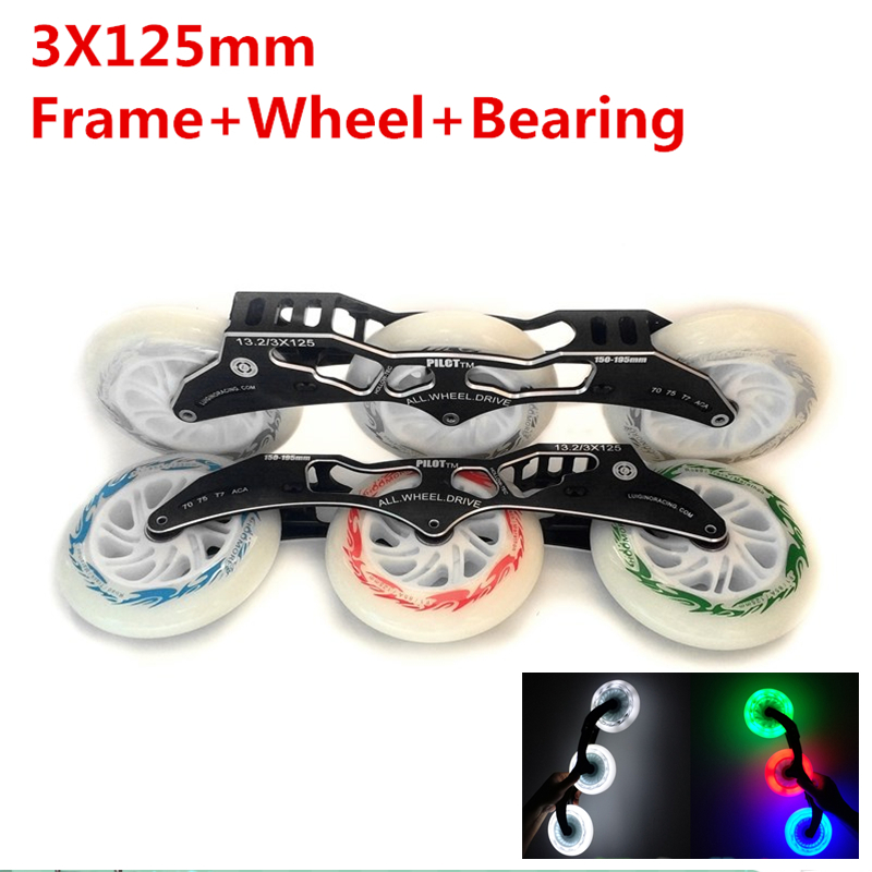 Frame 125mm LED Flash Wheel Pilot 3X125mm Inline Speed Skating Base with White Green Blue Red