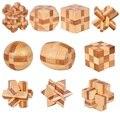 10 pçs/set 3D do vintage feitos à mão Ming bloqueio Luban bloqueio de madeira brinquedos puzzle para crianças adultos adulto presente de Natal