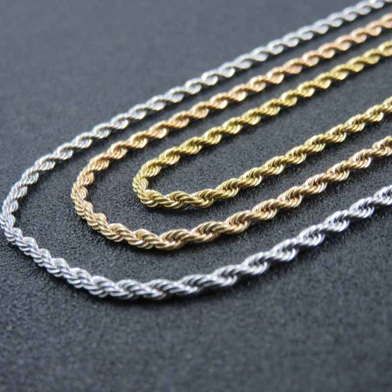 2.4mm 45cm-70cm Gold-Color Twist Chains Necklace Silver Stainless Steel Women's Rope Chain Necklace Fashion Jewelry