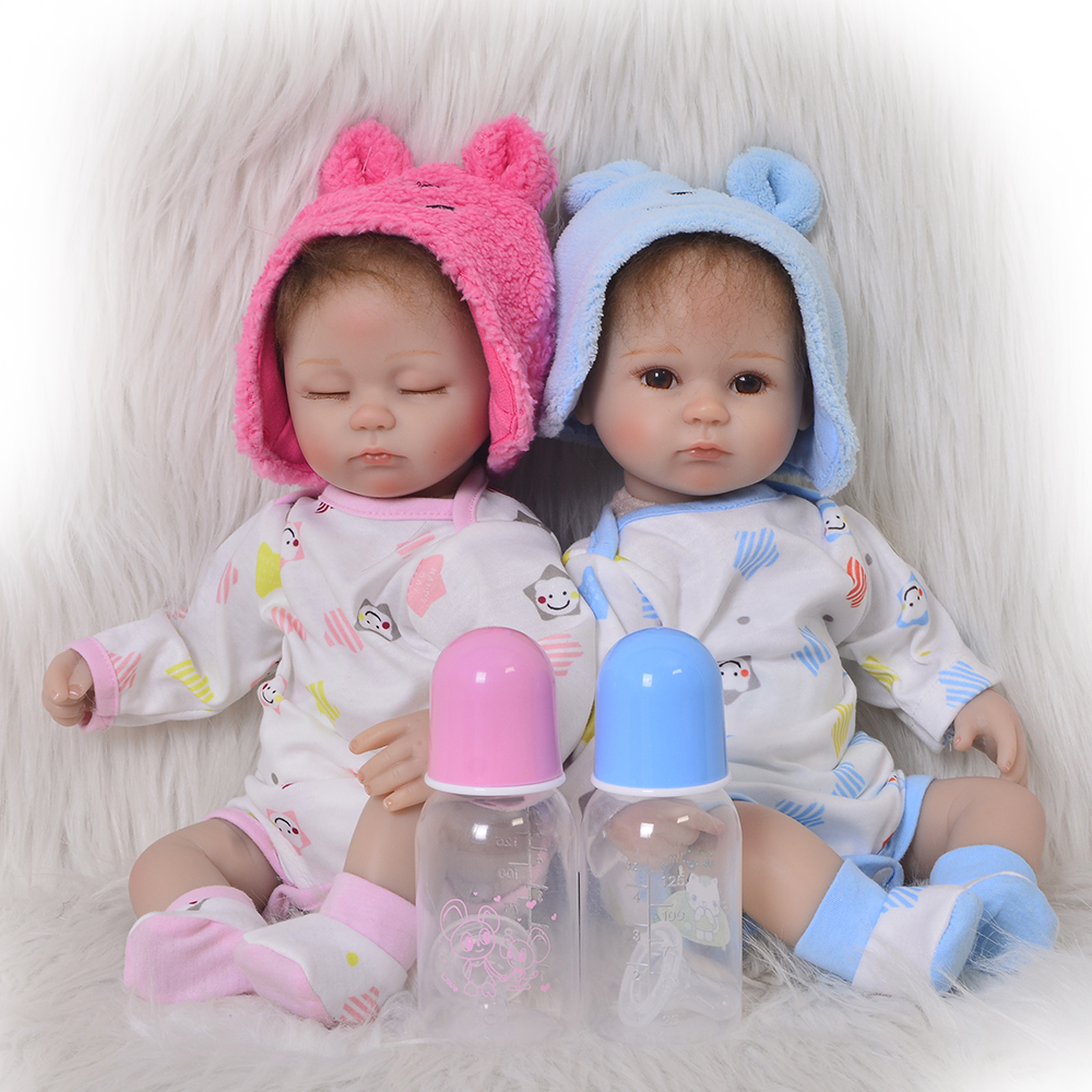 New 17 Inch Twins Reborn Baby Doll Soft Silicone Baby