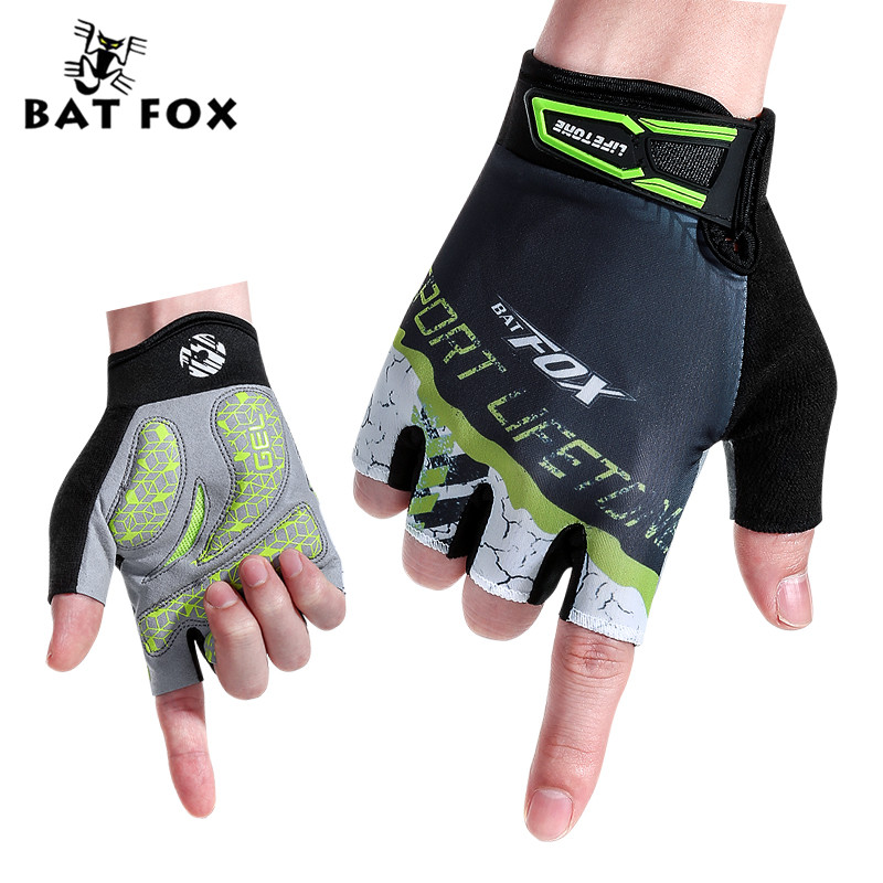 BATFOX Men Women Half Finger Gloves Cycling Short Bicycle Gloves Mountain Bike Equipment Bicicleta Ciclismo Sports MTB Gloves