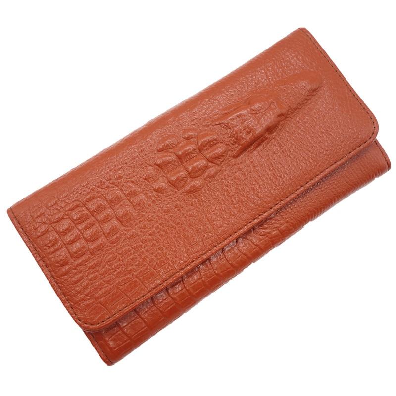 ФОТО Hot Selling Genuine Leather Women Wallets Crocodile 3D Fashion Casual Purse Wallet Alligator Pattern Long Wallet Women carteira