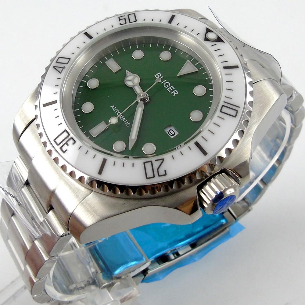купить Bliger 44mm green Sterile dial white Ceramic Bezel automatic mens watch по цене 6969.74 рублей