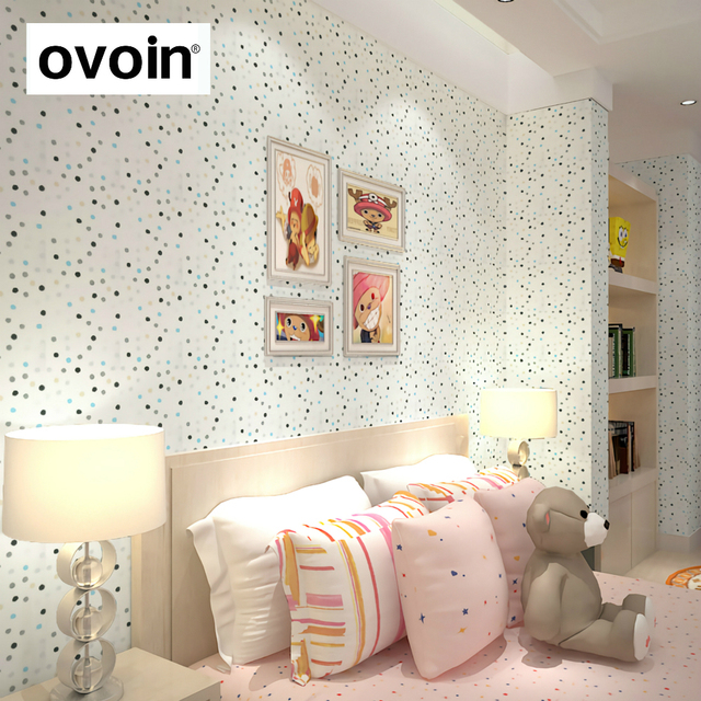 couleur polka points enfants filles de papier peint chambre mur papier rouleau gar on enfants. Black Bedroom Furniture Sets. Home Design Ideas