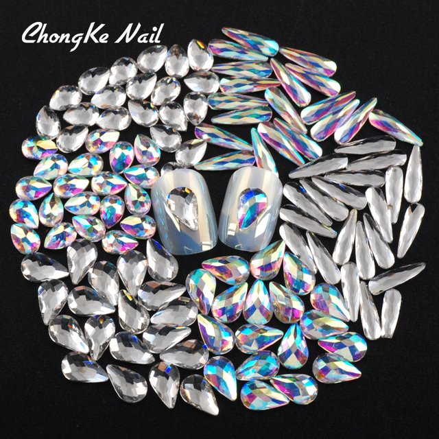 Hisenlee Nail Art Rhinestones 20Pcs Pack Clear and Crystal AB Flat Shaped  Various Types Teardrop ef9e44ce53d6