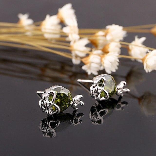 Silver color Skull simple stud earrings