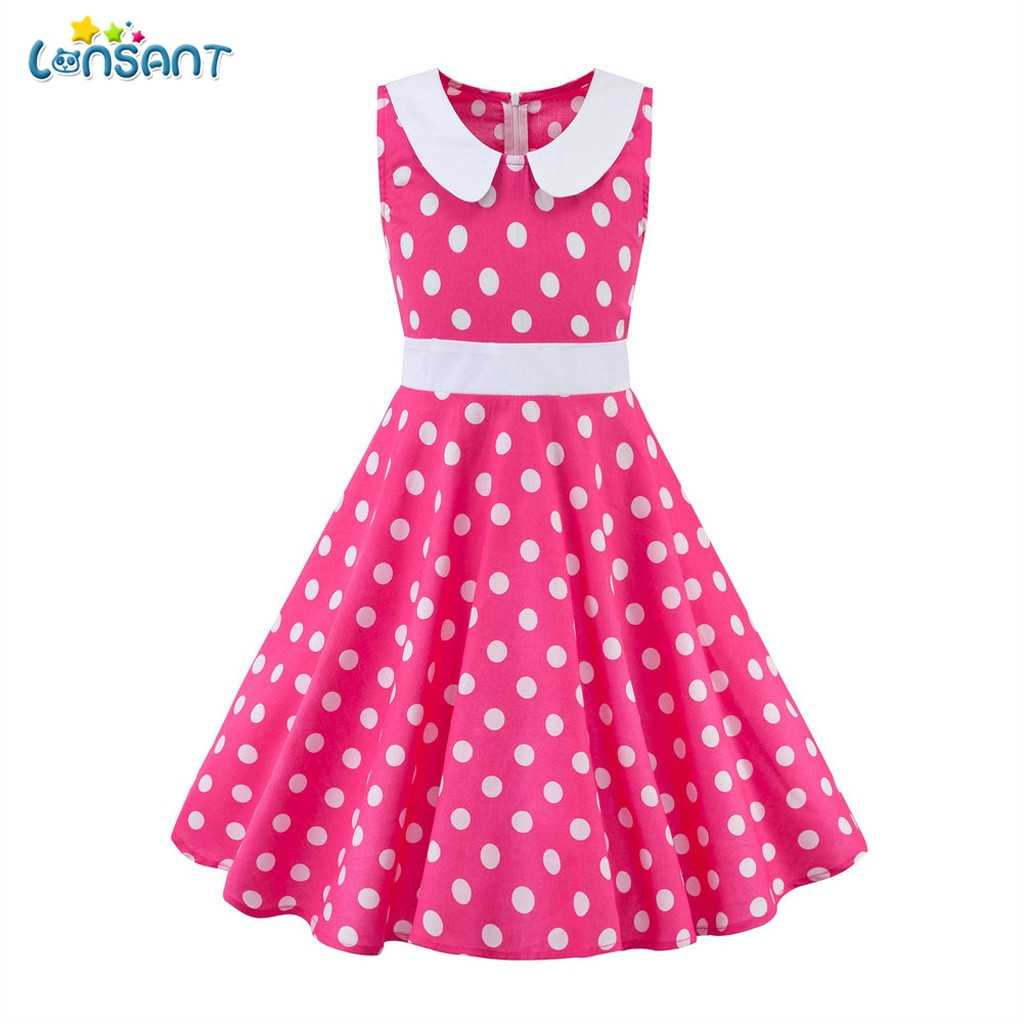 LONSANT Vintage Kids Baby Girl Backless Summer Party Dress Sleeveless Ruffle Polka Dot Princess Dress Girl High Waist A-Line N30