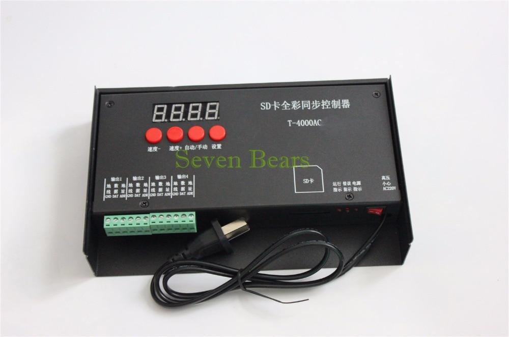 Contrôleur de carte SD T-4000AC étanche à la pluie T-4000 module de pixel led Programmable polychrome pour WS2811 WS2801 WS2812B 6803 1903 bande