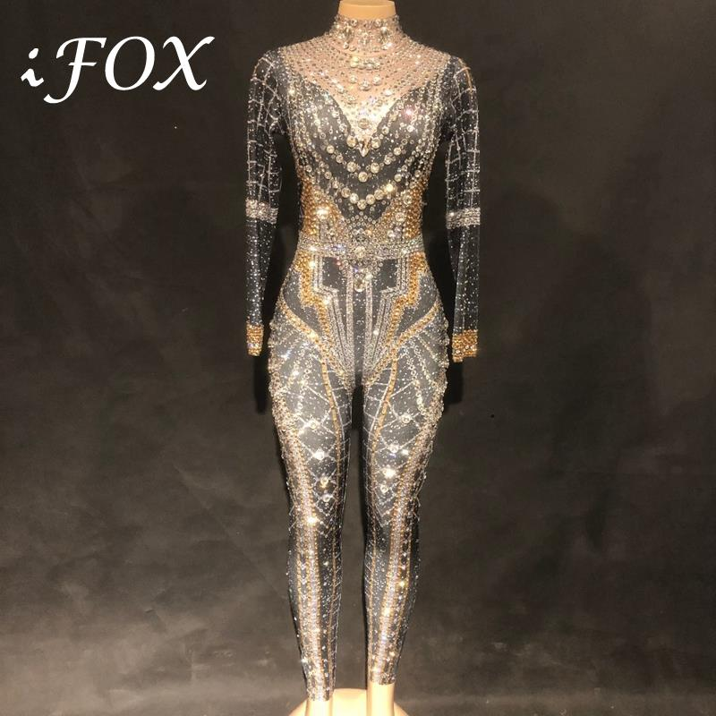Women Classic Queen Sexy Rrhinestone Bodysuit Full Sparkling Crystals Stones Jumpsuit Party Nightclub Performance Costume in Jumpsuits from Women 39 s Clothing
