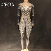 Women Classic Queen Sexy Rrhinestone Bodysuit Full Sparkling Crystals Stones Jumpsuit Party Nightclub Performance Costume