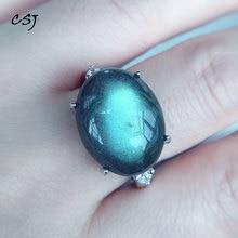 CSJ Big Stone 13*17MM Natural Blue Labradorite Ring Moonstone Sunstone Divination spiritual meditation Fine Jewelry for Women