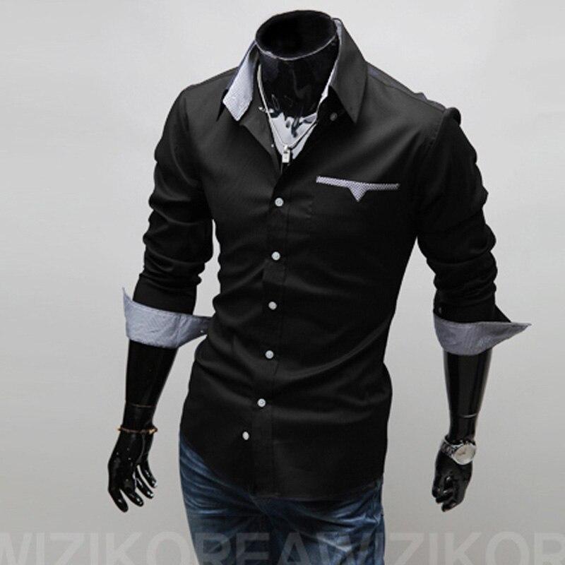 2017 New Brand Mens Casual Shirts 3 Colors Plaid Pocket Shirts Men Plus Size Mens Slim Fit Dress Shirts