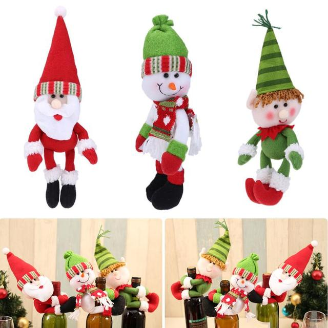 Christmas Navidad Decoration Christmas Ornaments Champagne Bottle Hold Cover Santa Claus Snowman Elf Home Decoration