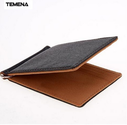 TEMENA Men Wallet Short Skin Wallets Purses Fashion Synthetic Leather Money Clips Sollid Thin Wallet For Men new 2017 men wallet women leather wallets purses creative contracted thin students short wallet purse