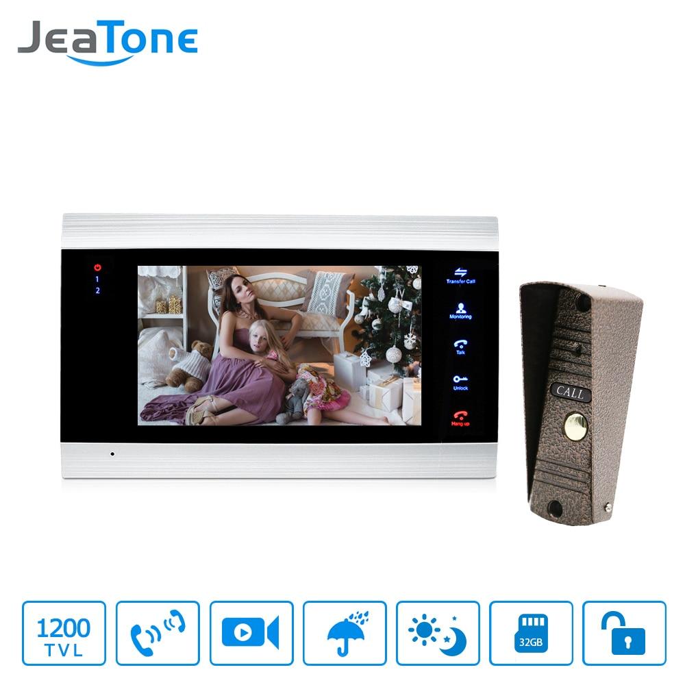 JeaTone 7 Inch LCD Video Doorphone Intercom System Door Release Unlock Home Security Video Door Phone Kit 1200TVL+16G SD Card