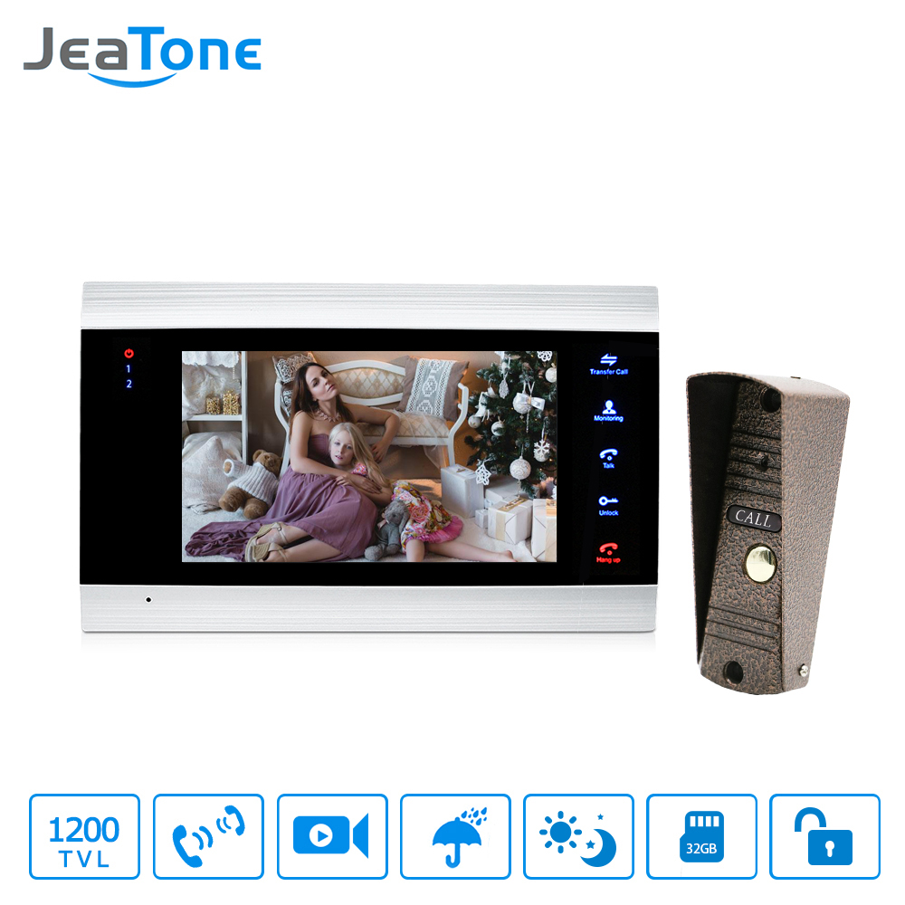JeaTone 7 Inch LCD Video Doorphone Intercom System Door Release Unlock Home Security Video Door Phone Kit 1200TVL+16G SD Card-in Video Intercom from Security & Protection