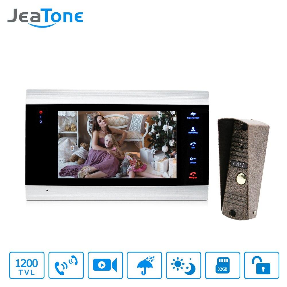 Jeatone 7 Polegada lcd vídeo porteiro intercom sistema de liberação da porta desbloquear kit 1200tvl telefone video da porta segurança em casa + 16g cartão sd