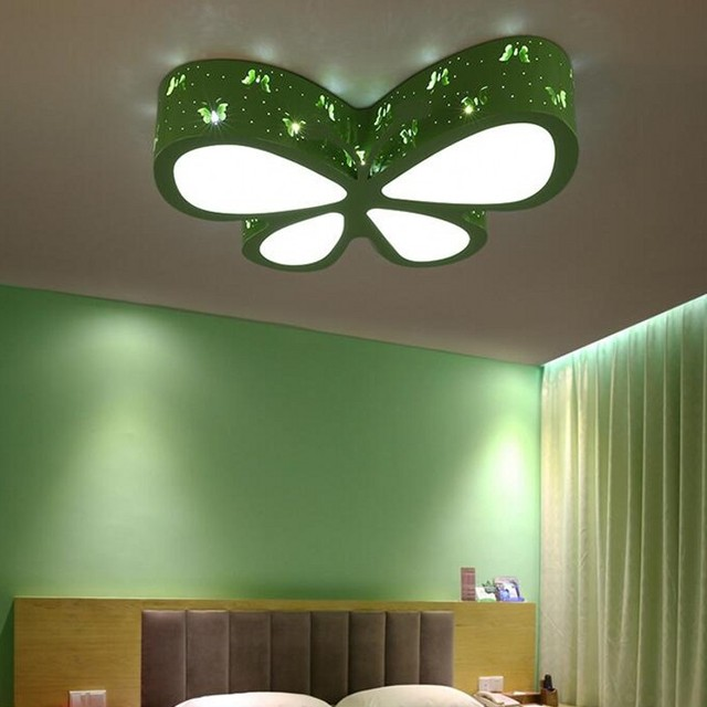children\'s room Color butterfly LED ceiling lamp baby girl baby ...