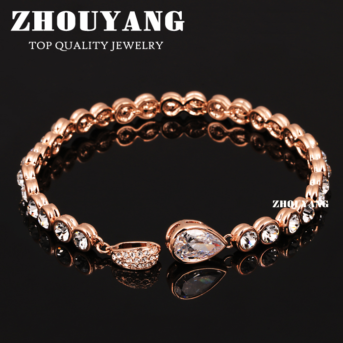Top Quality ZYH180 Luxurious Water Drop Rose Gold Color Bracelet Jewelry Austrian Crystals Wholesale