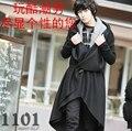 2017 M-5XL Qiu dong men shawls long big yards han edition tweed coat fashion trench coat cloak of British male personality