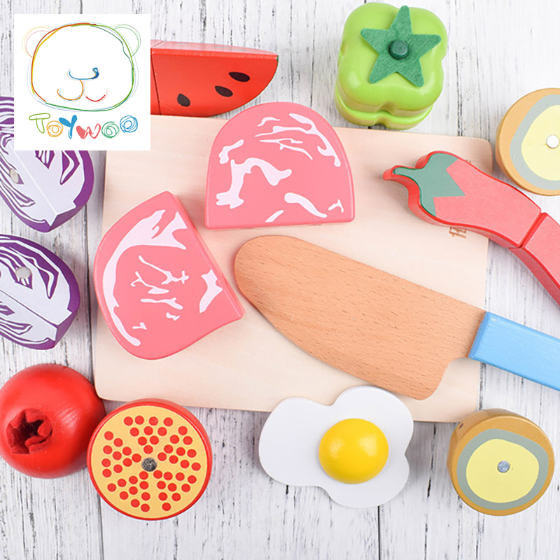 New Juguetes Toys Pretend Play Wood Fruits And Vegetables Slice Wooden Toy House Magnetic Sell Single Assembly Unisex