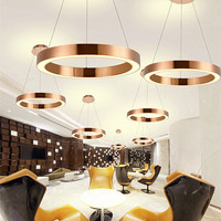 Modern Nordic LED Rose Gold Restaurant Pendant Lights Circle Ring Suspension Luminaire Dining Room LED Lights