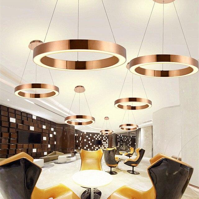 Modern Nordic Led Rose Gold Restaurant Pendant Lights Circle Ring