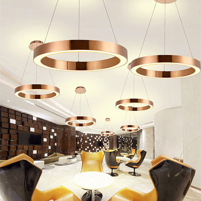 Moderne Nordique Led Rose Or Restaurant Pendentif Lumieres Cercle