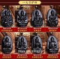 Natural 60x40mm Black Obsidian Carved Chinese Eight Patron Saint Buddha Kwan-Yin Amulet Lucky Pendants + Beads Necklace Jewelry