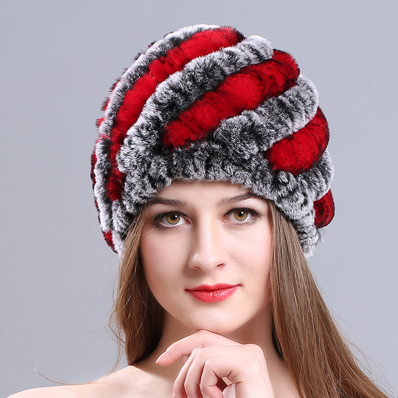 Russian Fur Hat Guarantee 100% Natural Genuine Rex Rabbit Fur Cap Knitted Hats For Winter Women Beanies bone Warm Pineapple Cap процессор intel core i5 6400 2 7ghz 6mb socket 1151 box