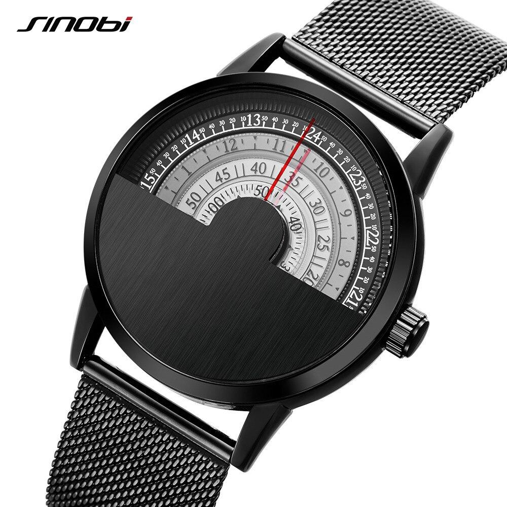 SINOBI Ultra Thin Mens Watches Men Top Brand Luxury Clock Steel Mesh Band Creative Dials Male Wrist Watch 2017 Relogio Masculino
