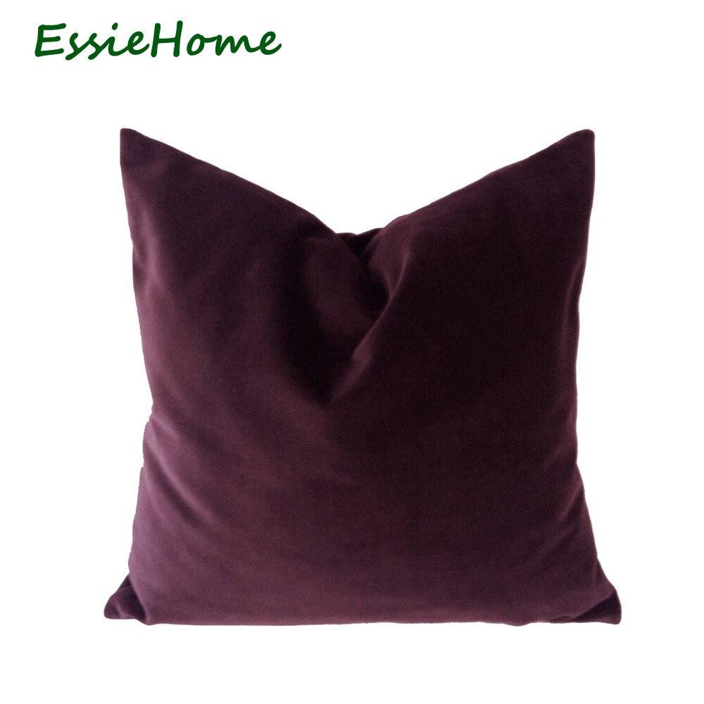 ESSIE HOME Luxury Cotton Matte Plum Red Velvet Cushion ...