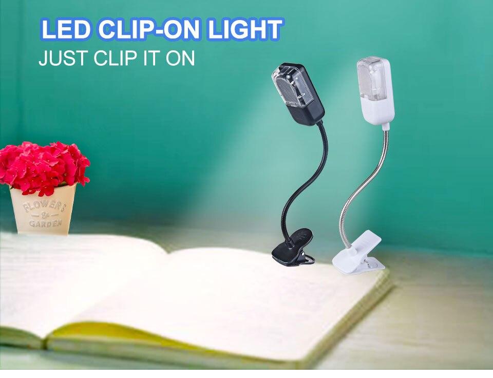 LED Book Light Mini Clip-On Flexible Bright Reading Lamp For Travel Bedroom Christmas New Year Children Baby Gift Night Lighting (1)