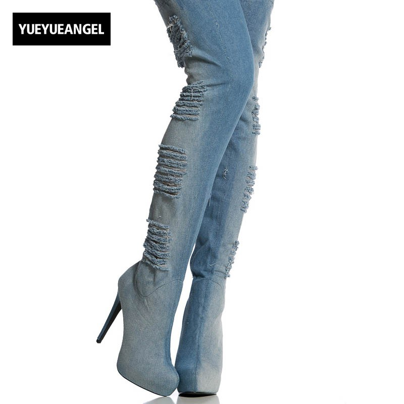 2018 New Women Hole Ripped Jeans Over The Knee Boots Sexy Super High Heel Stretchy Night Club Footwear Shoes Large Size 34-46 2018 spring sexy women ripped denim over the knee boots thin high heels night club shoes peep toe platform footwear large size