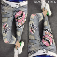 Personality Hole Sequins Lips Printed Women Jeans Casual Fashion Nine point Denim Pants Trousers