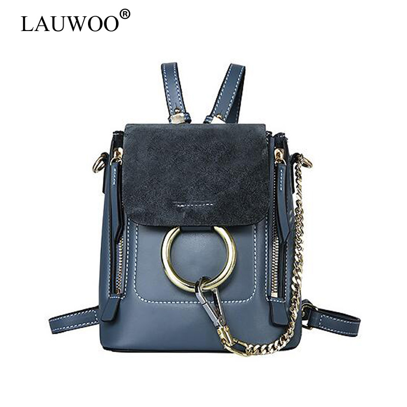 LAUWOO New Women Luxury Brand Backpack girls Mini Backpack Bolsa Termica Tassen Shoulder Bags Carteras Mujer Ring Chain Bag qicai yanzi 2017 new lunch bags pouch storage box flowers insulated thermal cooler bag picnic tote bolsa termica lancheira n563
